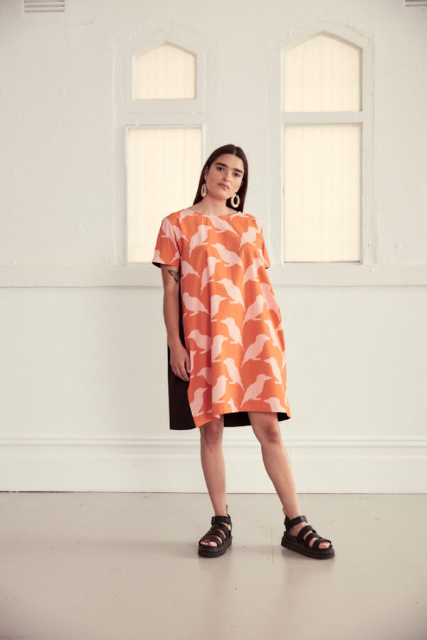 vibrant-orangepink-cotton-cocoon-style-dress-in-kookaburra-print-by-ana-williams-by-anawilliamspatterns