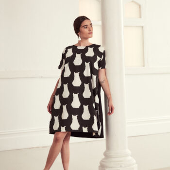 black-and-white-cotton-cocoon-style-dress-in-cat-print-by-ana-williams-by-anawilliamspatterns