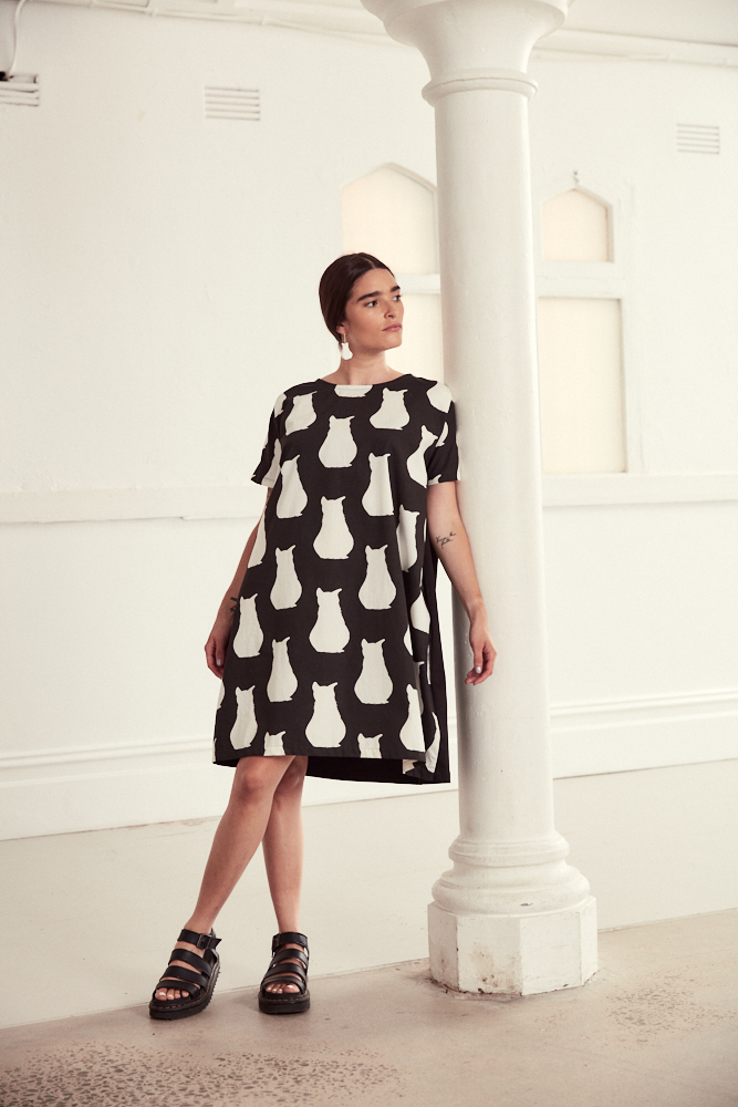 "Black And White Cotton Cocoon Style Dress In ""Cat"" Print By Ana Williams"