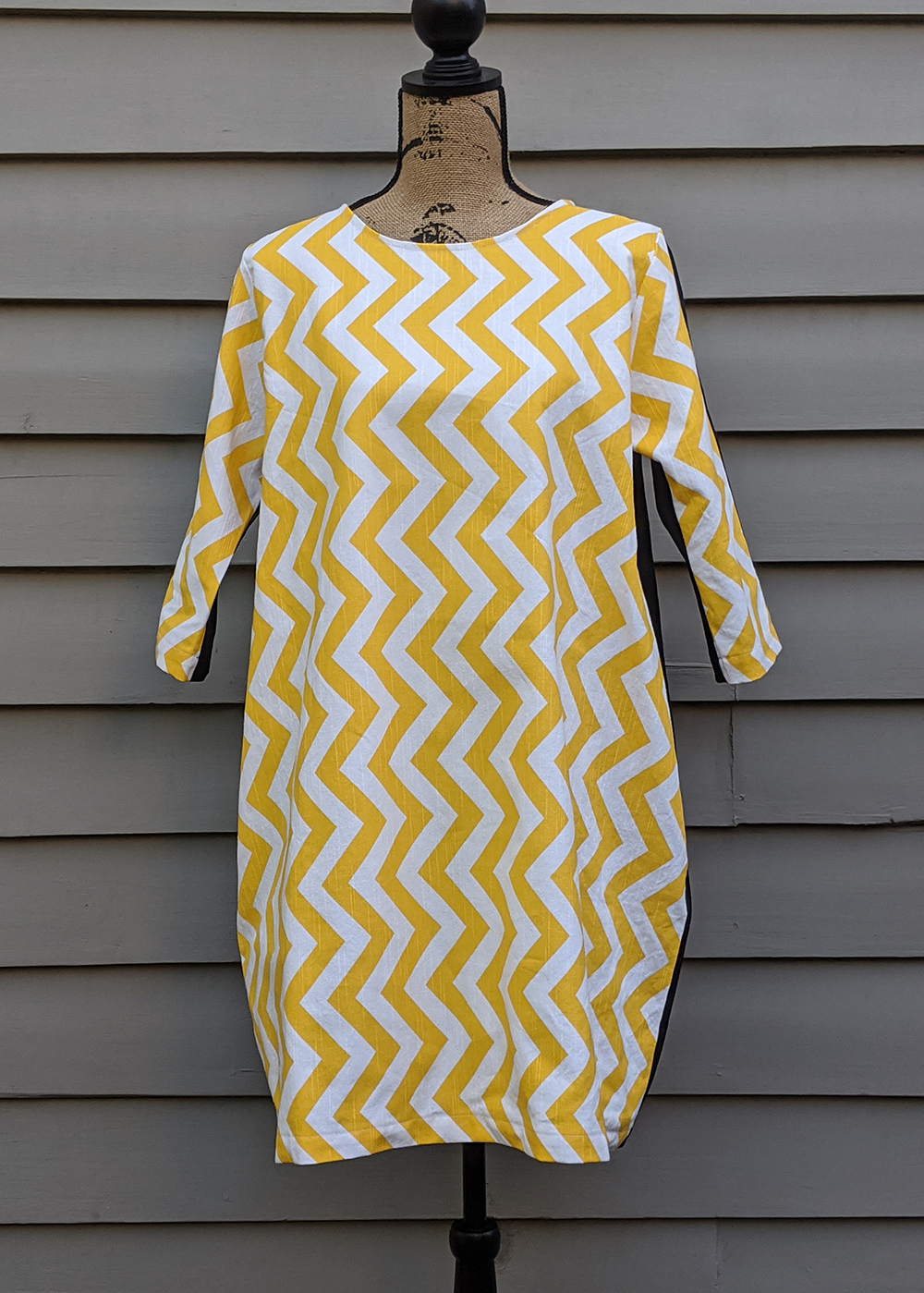 Bright Yellow Zigzag Cocoon Style Dress By Ana Williams