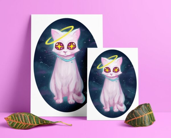 luna-space-cat-a5-a4-giclee-prints-by-Enixy