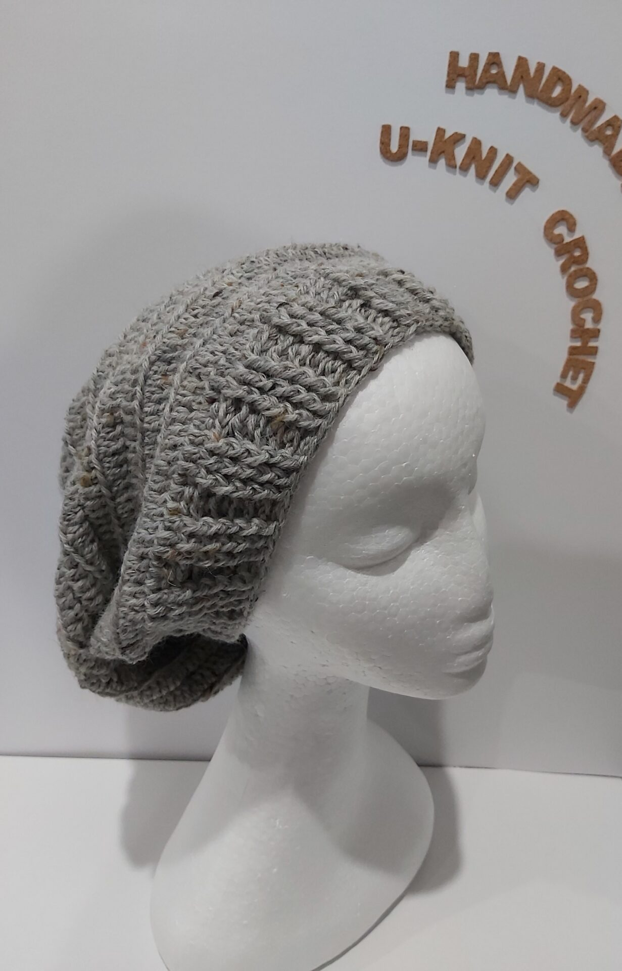 Grey Slouchy Hat Handmade By U-Knit Crochet