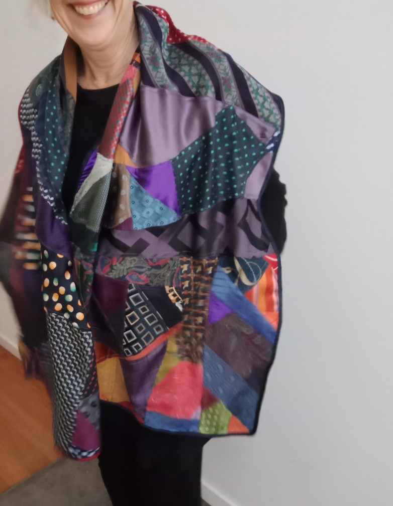 Alluring Silk Shawl By Judith Scott Upcycling