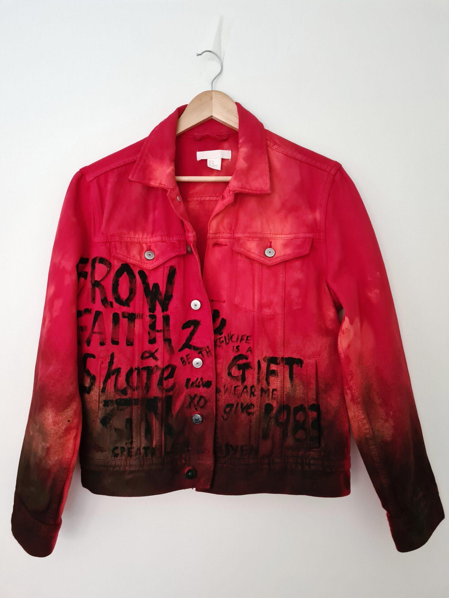Red Graffiti Denim Jacket By Being Benign