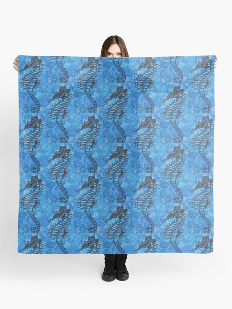 Blue Seahorse Scarf By Gem's Artistic Creations