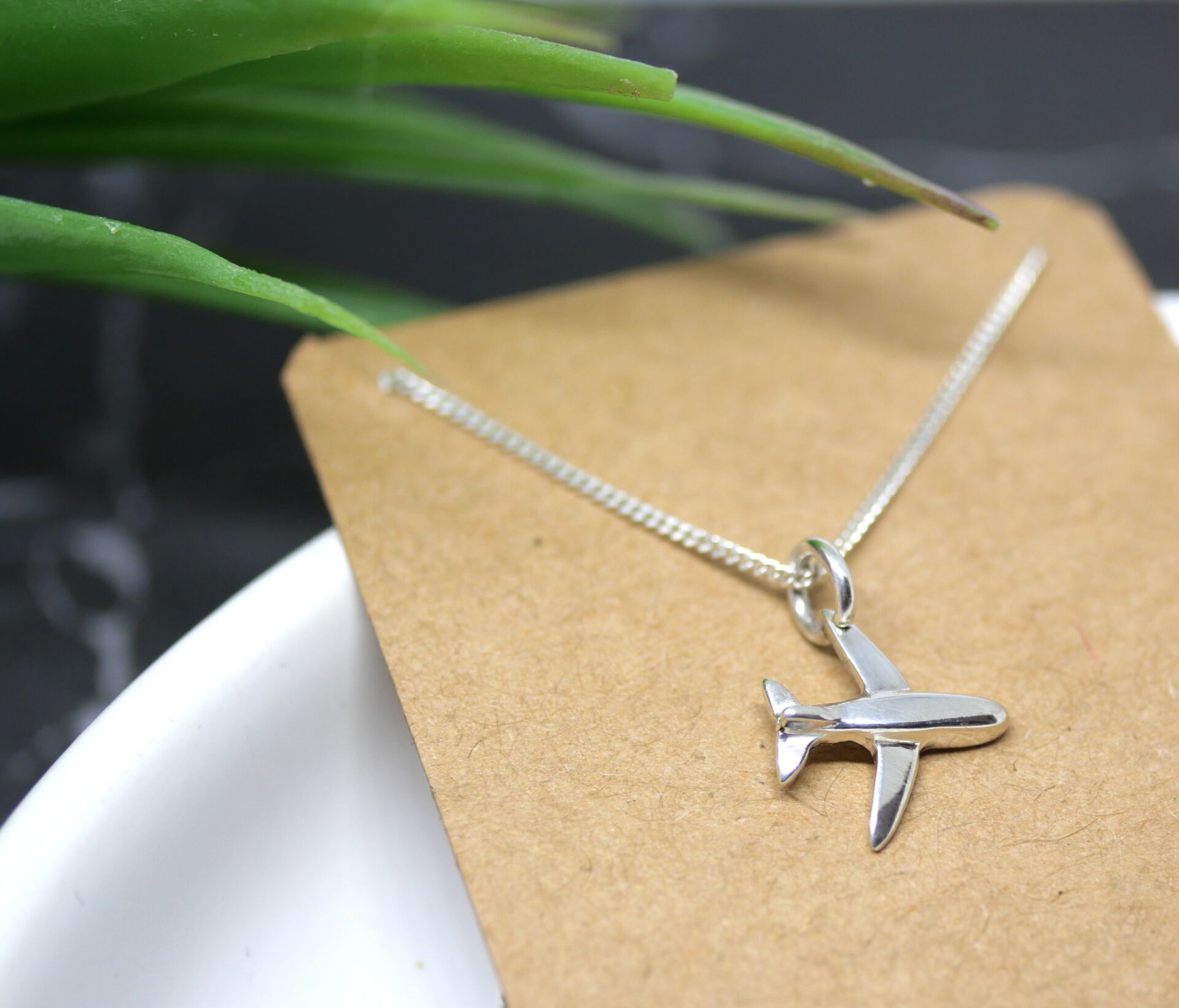 Tiny Plane – Handmade Solid Sterling Silver Aeroplane Pendant With Fine Chain By Purplefish Designs