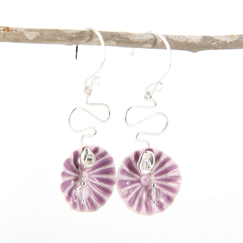 Mauve Ceramic And Sterling Silver Hooks By TLH Inspired
