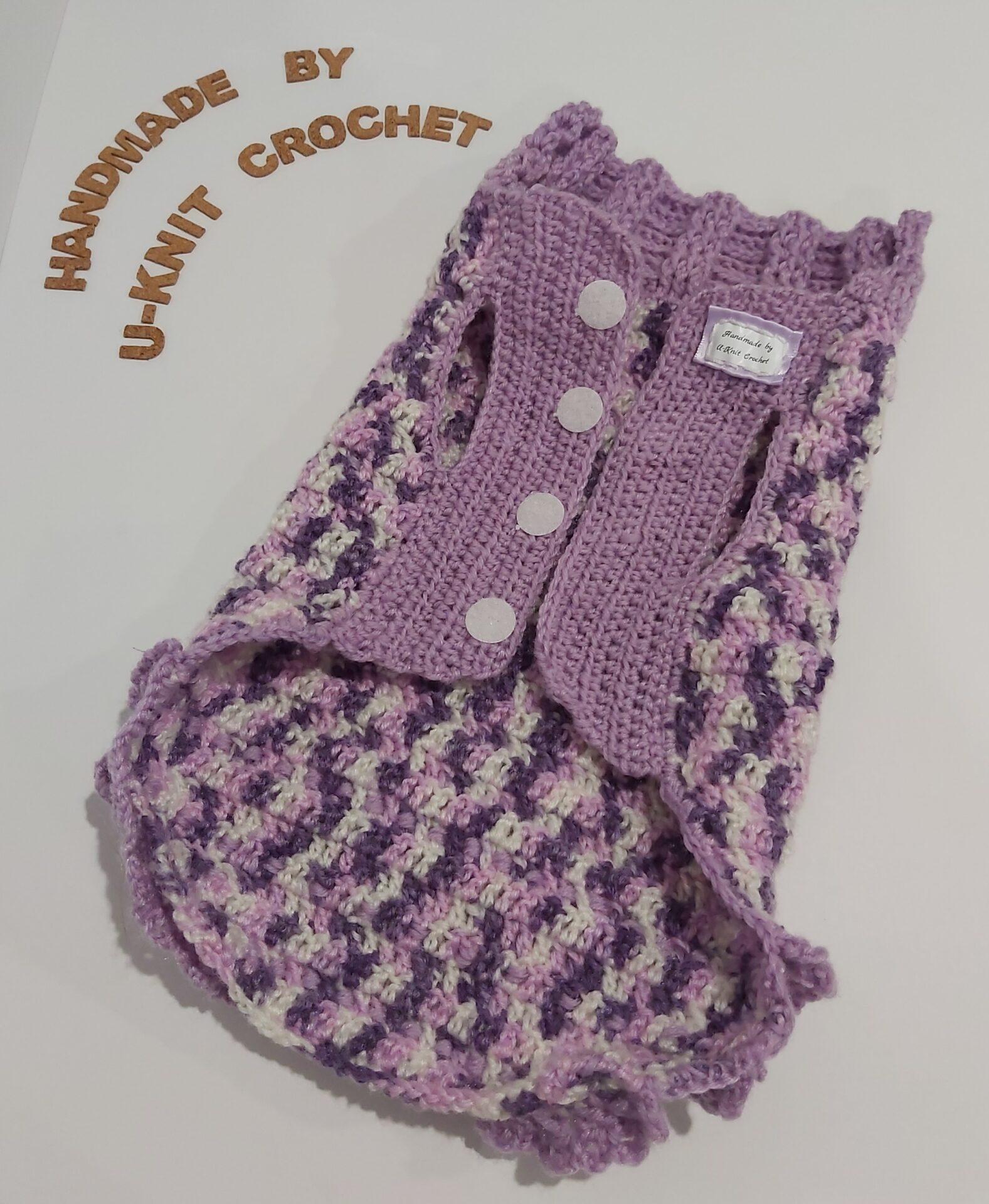 Violet Dog Winter Coat Handmade By U-Knit Crochet
