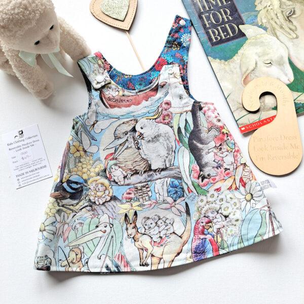 Size 000 Mays Adventure reversible pinafore dress by St David Studio kids