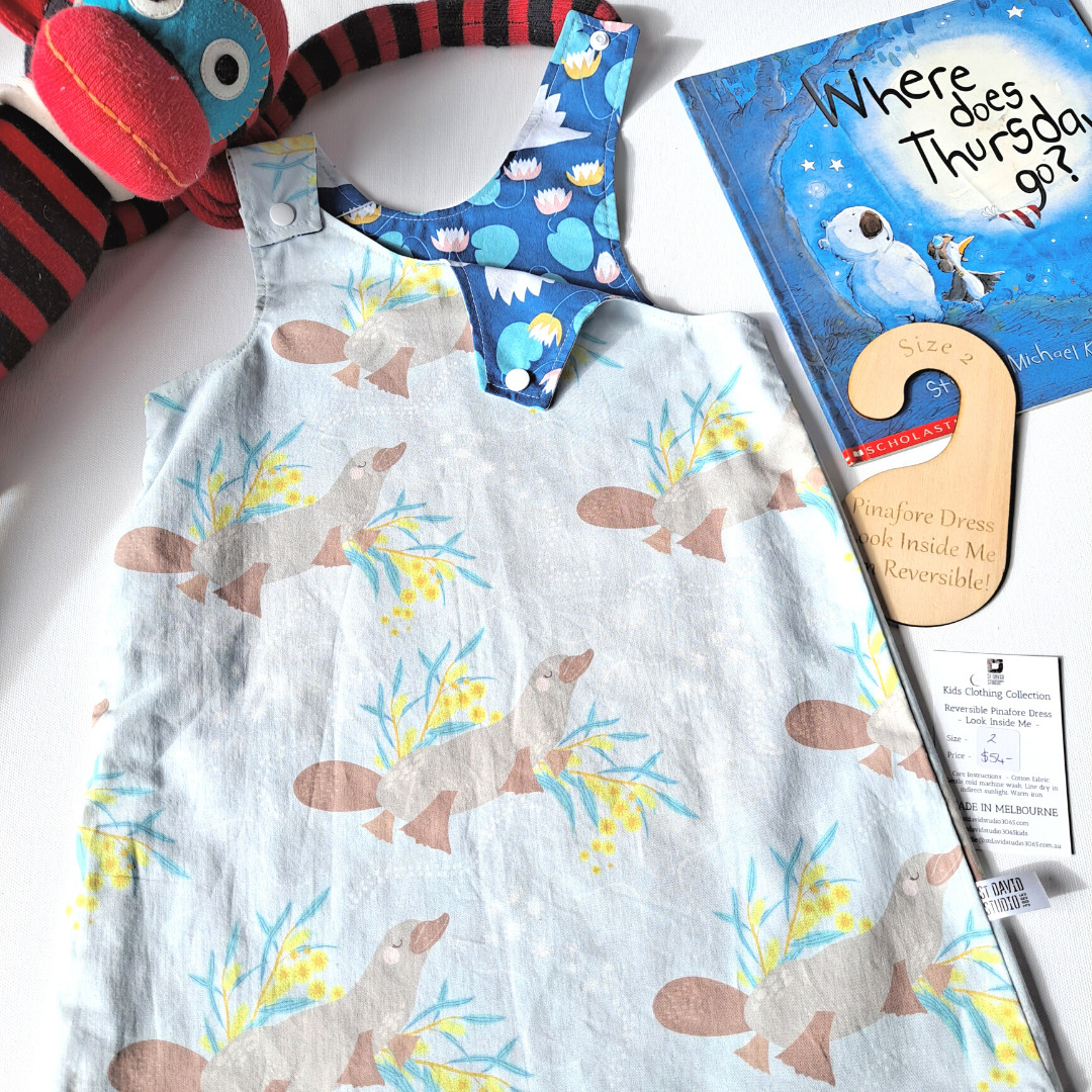 Size 2 platypus reversible pinafore dress by St David Studio kids