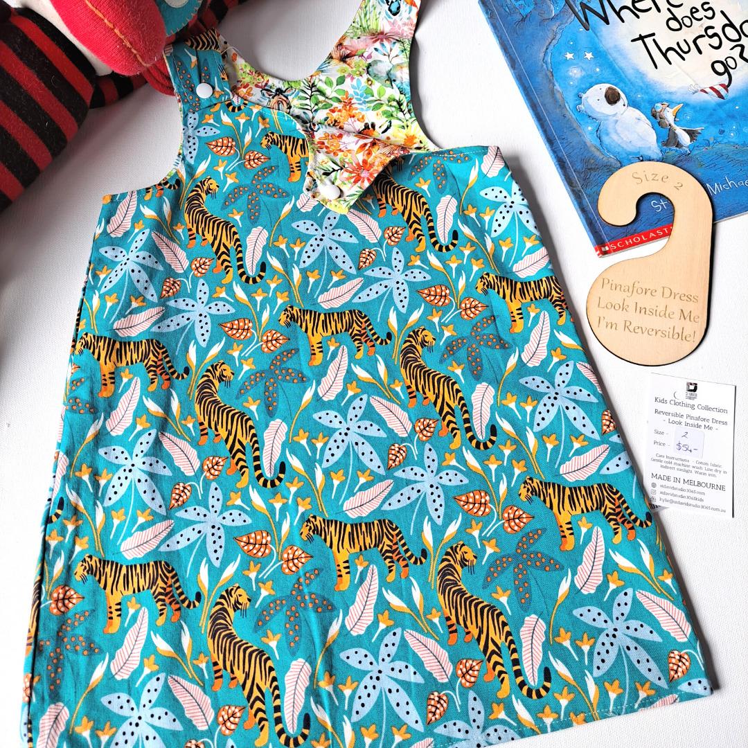 Children's Size 2 Reversible Pinafore Dress – Tigers Aqua / Floral Animal Faces By St David Studio 3065 Kids