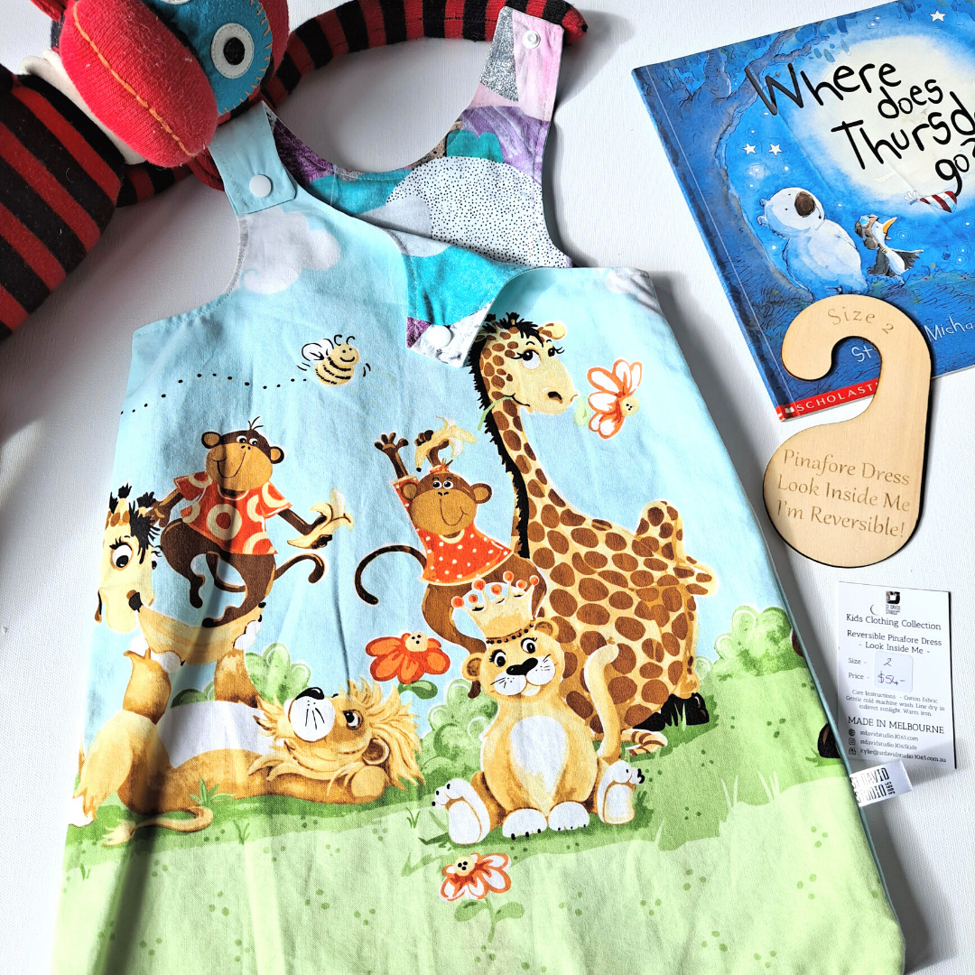 Size 2 safari reversible pinafore dress by St David Studio kids