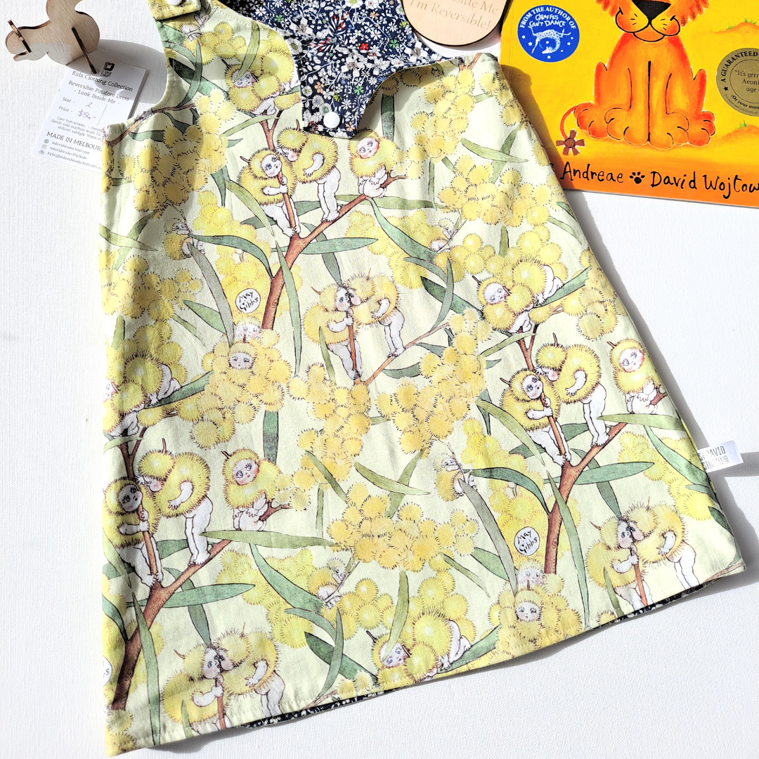 Size 4 yellow blossom reversible pinafore dress by St David Studio kids