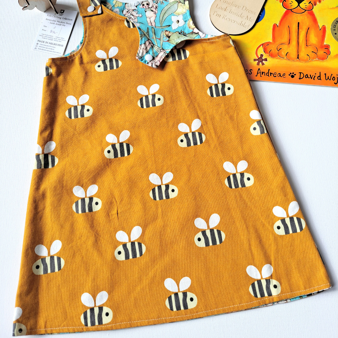 Children's Size 5 Reversible Pinafore Dress – Bees / Patchwork By St David Studio 3065