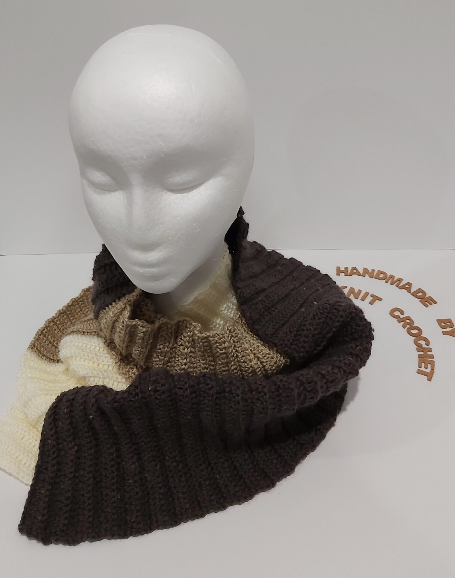 Triple Colour Scarf Handmade By U-Knit Crochet