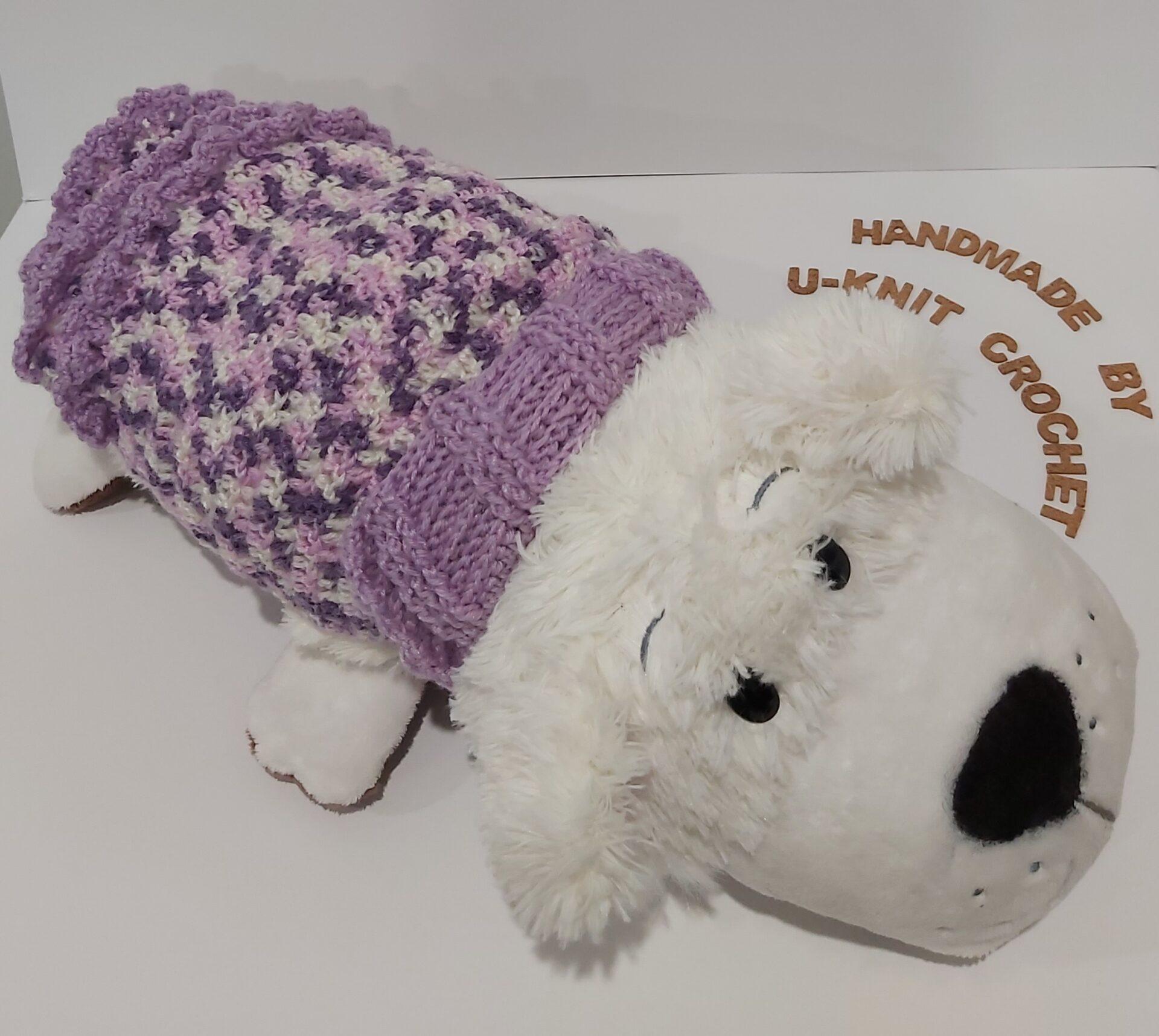 Violet Dog Winter Coat Handmade by U-Knit Crochet U-Knit Crochet (online only)
