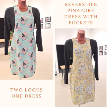 Reversible Dress with pockets, Size 8 Magpies / Yellow Flower babies by St David Studio 3065