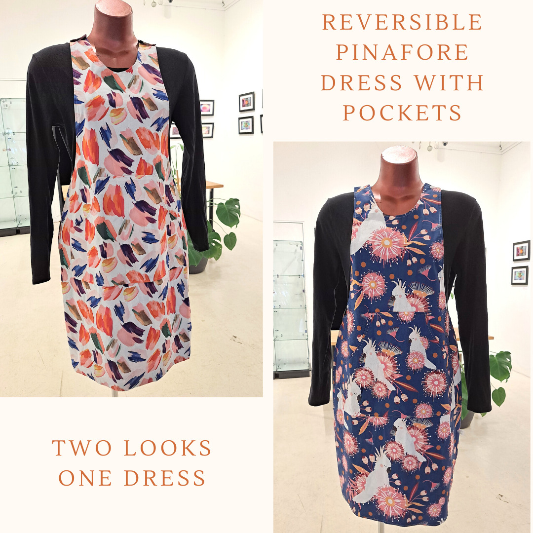 Reversible Dress With Pockets, Size 8 Cockatoos And Paint Splash By St David Studio 3065