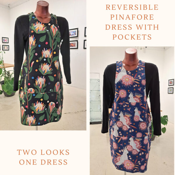 Reversible Dress with pockets, Size 10 Black Protea / Cockatoos by St David Studio 3065