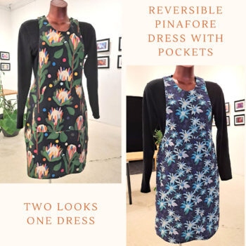 Reversible Dress with pockets, Size 8 Black Protea / Navy Flowers by St David Studio 3065