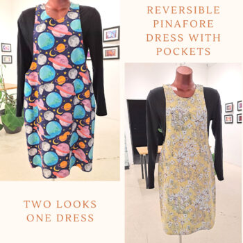 Reversible Dress with pockets, Size 14 Navy Space / Yellow flowers by St David Studio 3065