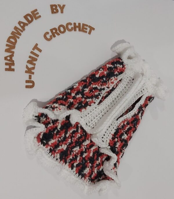 White Trimming Coral Dog Sweater Handmade by U-Knit Crochet U-Knit Crochet (online only)