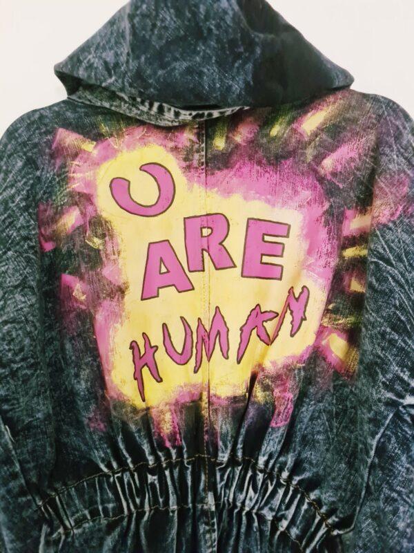 Slogan Painted Denim Jacket by Being Benign Being Benign (Fitzroy)