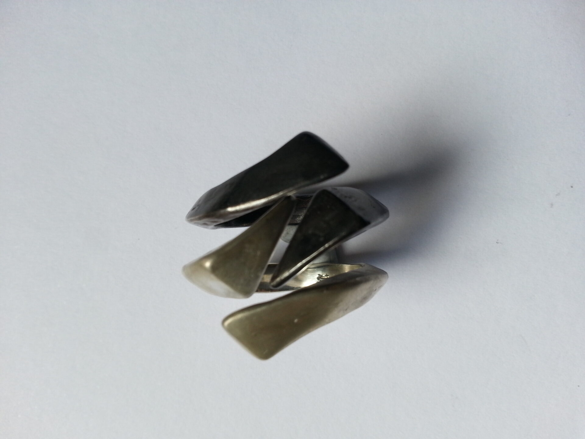 Sterling Silver Forged Stack Rings-Size P1/2 -by Corinne Lomon