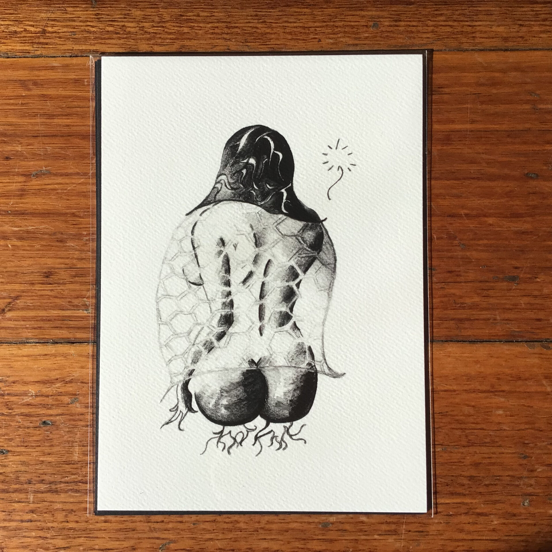 'Veiled Lady', A5 Fine Art Print by Inktacled inktacled (Fitzroy)