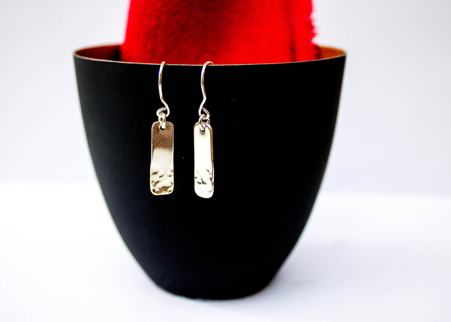 Hammered Rectangle Earrings By Silver Goose