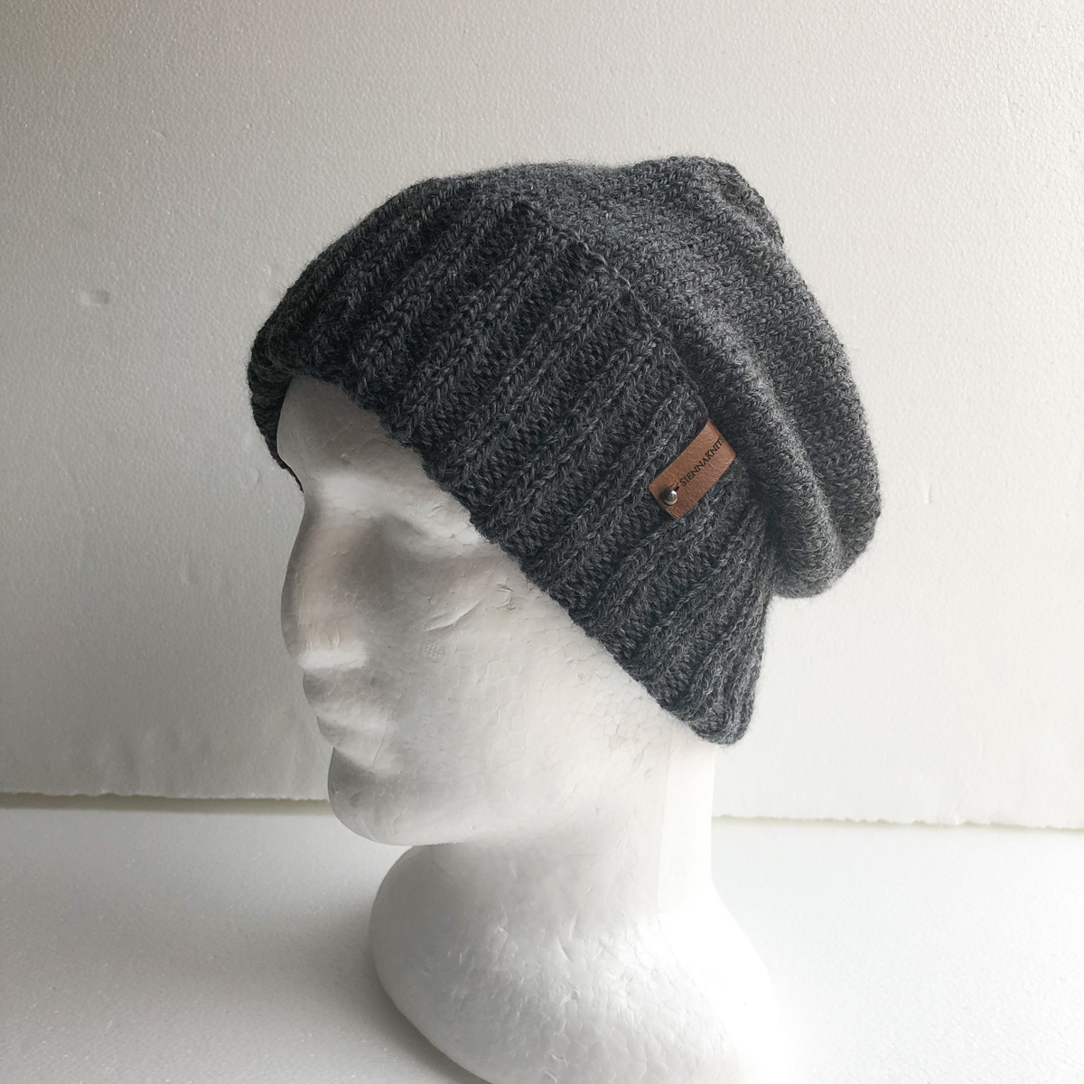 100% Wool Charcoal Knit Men Beanie With Foldable Brim By SiennaKnits