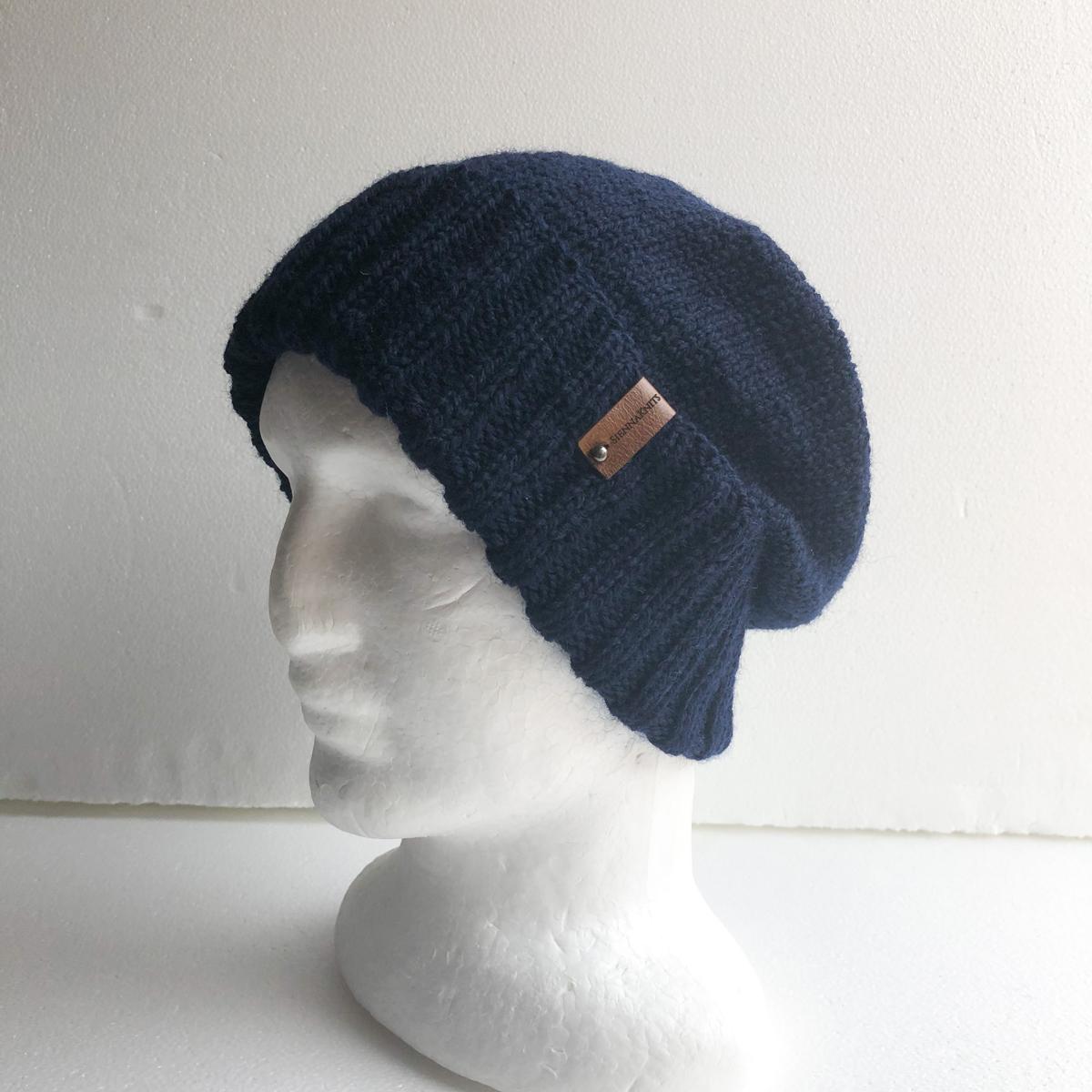 100% Wool Navy Knit Men Beanie With Foldable Brim By SiennaKnits