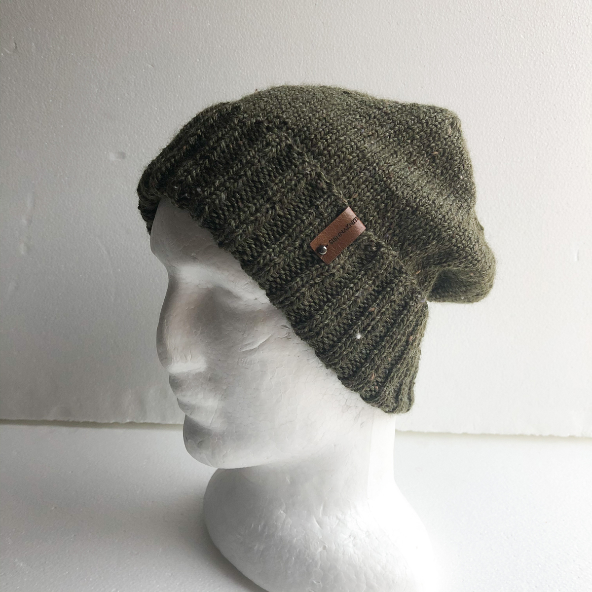 Olive Green Speckled Wool Knit Men Beanie With a Foldable Brim by SiennaKnits SiennaKnits (Fitzroy)