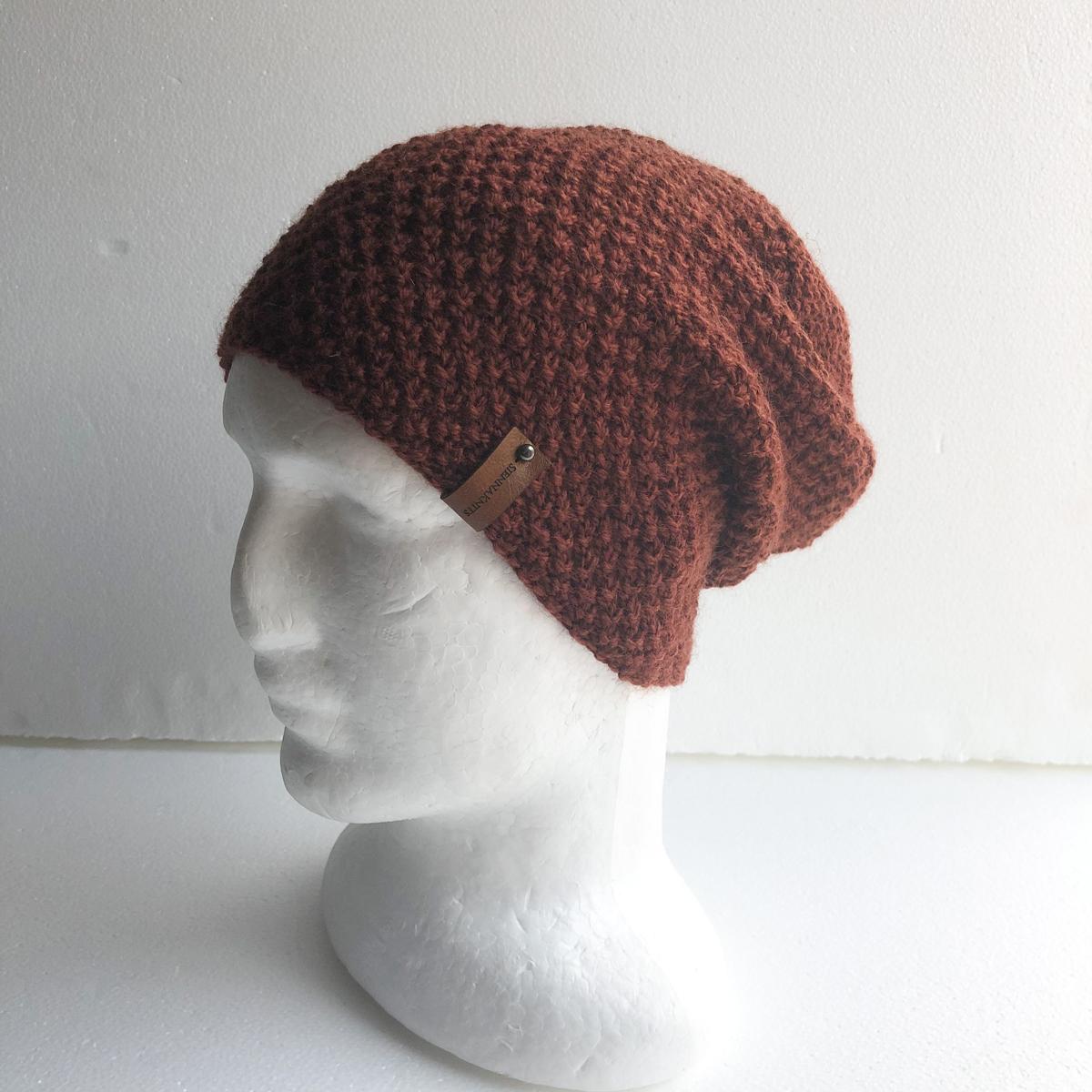 100% Wool Brown Knit Women Slouchy Beanie By SiennaKnits