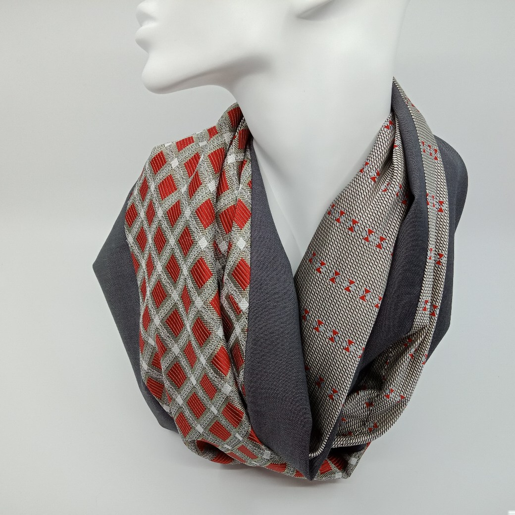 Red and silver grey silk and wool scarf by Judith Scott Upcycling Judith Scott Upcycling (Fitzroy)