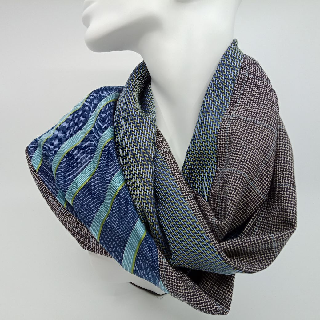 Teal striped silk and wool scarf by Judith Scott Upcycling Judith Scott Upcycling (Fitzroy)