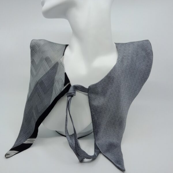 Grey and black silk faux collar by Judith Scott Upcycling Judith Scott Upcycling (Fitzroy)