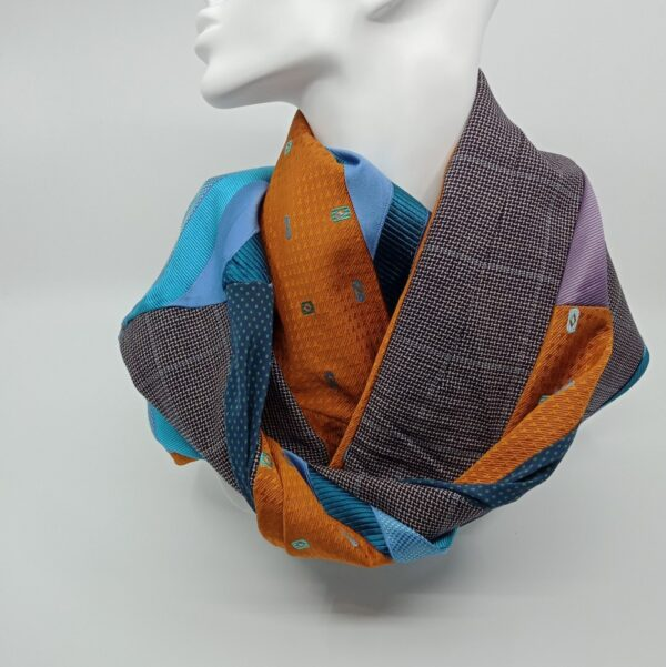burnt-yellow-and-turquoise-silk-and-wool-scarf-by-judith-scott-upcycling judithscott 301229