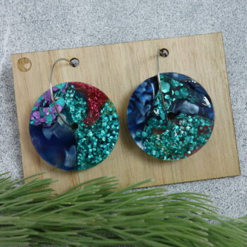 recycled-acrylic-earrings-discs-in-gold-and-blue LouisevanderWerff 667848