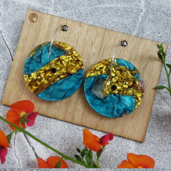 recycled-acrylic-earrings-discs-in-gold-and-blue LouisevanderWerff 315130