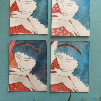 beautiful-set-of-hand-painted-etchings-of-blue-haired-women-by-the-intrepid-potter theintrepidpotter 504716
